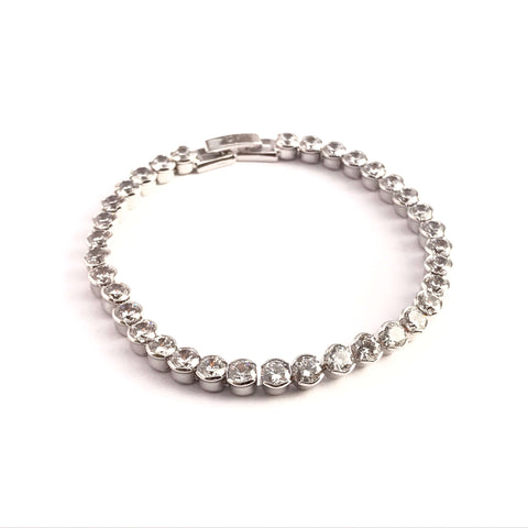 Cubic Zirconia Crystal Pave Tennis Bracelet Silver