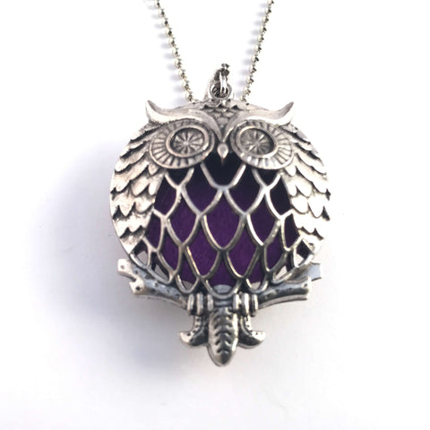 Adorable Owl Essential Oil Diffusing Necklace Antique Silver