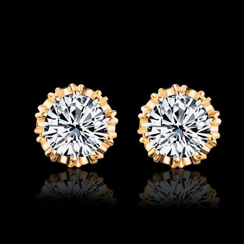 Earrings - Cubic Zirconia Crown Stud Earrings Gold White