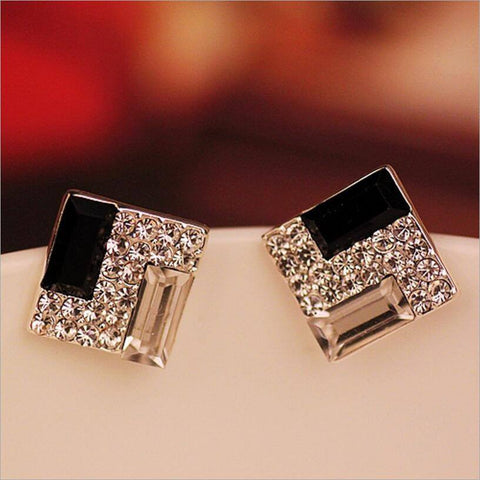Earrings - Fine Black And White Crystal Rhinestone Square Stud Earrings