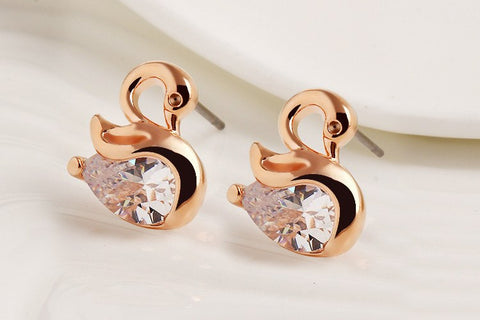 Earrings - Zircon Crystal Swan Earrings Gold