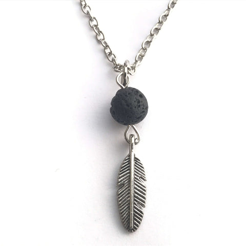 Feather - Natural Lava Stone Diffuser Necklace with Feather or Crescent Moon Pendant