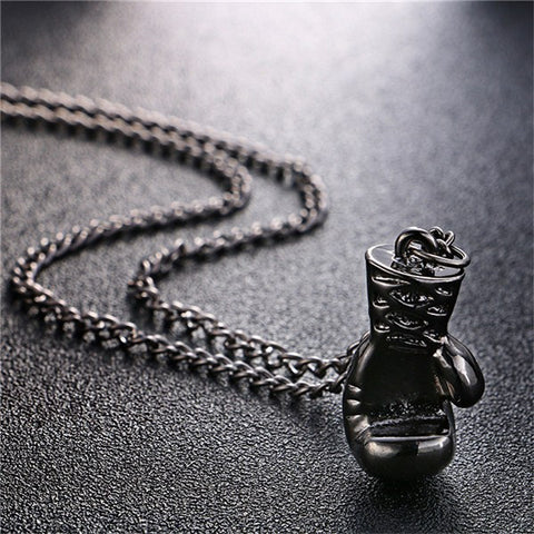 Necklaces - Mini Boxing Glove Necklace Black