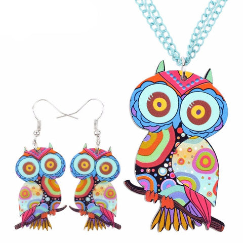 Cute Owl Necklace & Earrings Matching Set