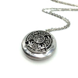 Antique Silver Celtic Knots Cross Aromatherapy Necklace