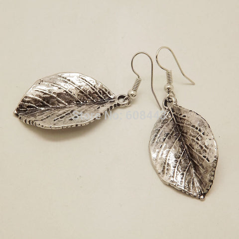Drop Earrings - Vintage Tibetan Silver Leaf Earrings