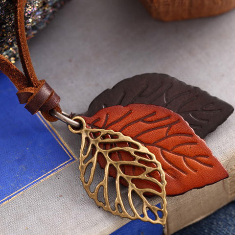 Boho Leather Leaves Pendant Necklace