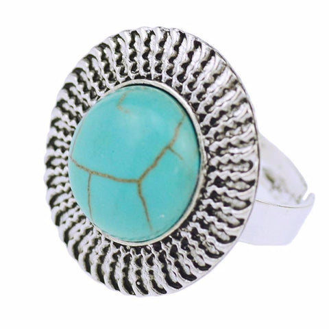 Tibetan Silver Vintage Turquoise Adjustable Ring