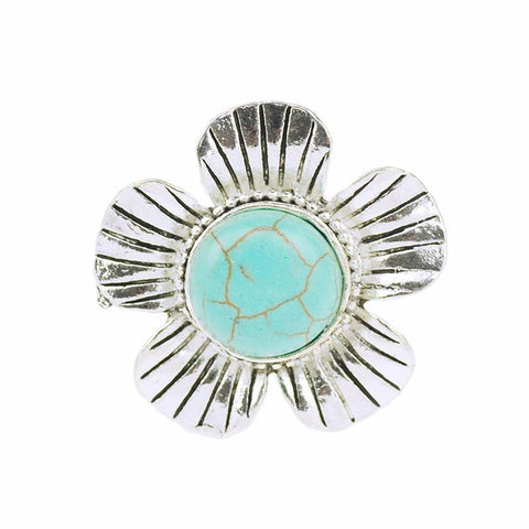 Rings - Turquoise Adjustable Flower Ring
