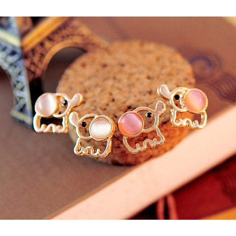 Cute Baby Elephant Stud Earrings: Pink & White