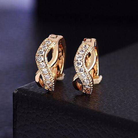 Earrings - Zircon Crystal Gold Plated  Earrings