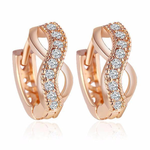 Women's Zircon Crystal Gold Plated  Earrings