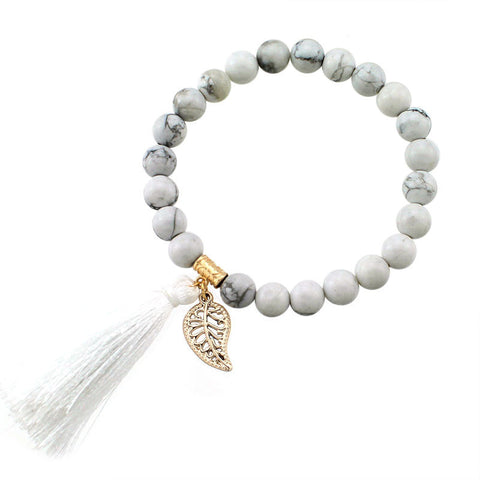 Bracelets - Natural Stone Beaded Bracelet with Tassel and Leaf