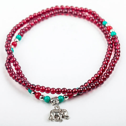 Bracelets - Elephant Charm Beaded Bracelet: Burgundy Red