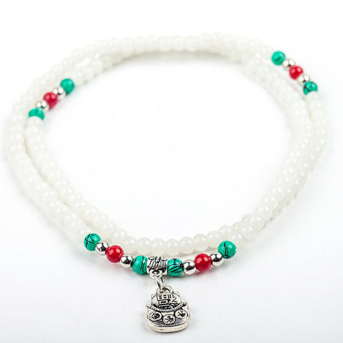 Lucky Charm Beaded Strand Bracelet: White