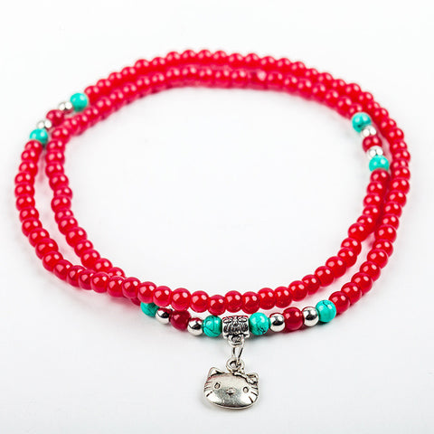 Cat Charm Beaded Strand Bracelet: Red