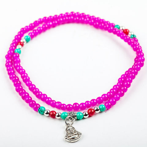 Laughing Buddha Beaded Bracelet: Hot Pink