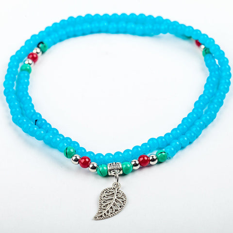 Leaf Charm Beaded Bracelet: Sky Blue