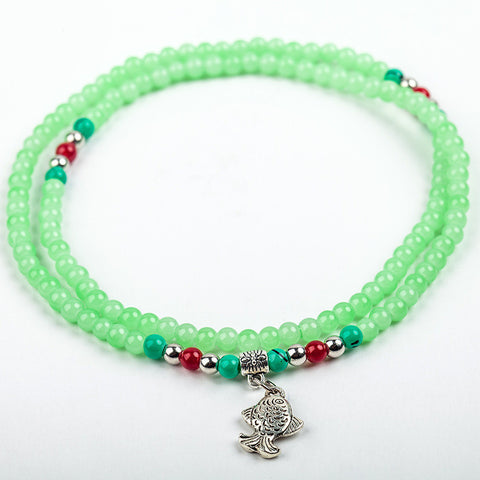 Fish Charm Beaded Strand Bracelet: Light Green