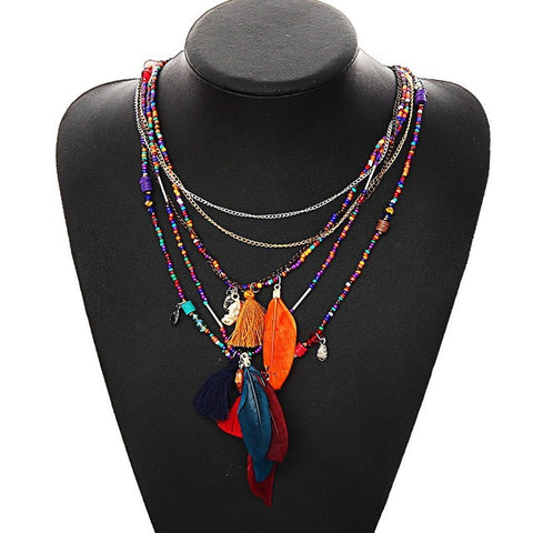 Multicolor - Multi-Color Boho Feather Necklace: 4 Styles