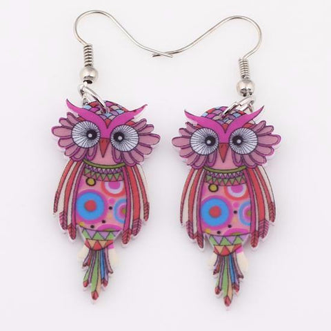 Red - Hoover Owl Dangle Earrings