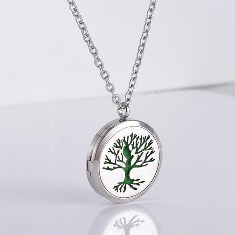 Tree of Life Oil Diffuser Locket Necklace With 5 Refill Pads