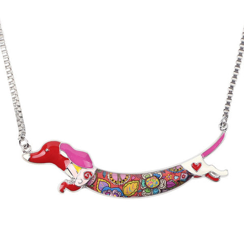 Cute Enamel Dachshund Dog Pendant Necklace Red