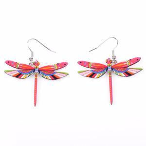 Light Red - Long Dragonfly Drop Earrings: 8 Variants