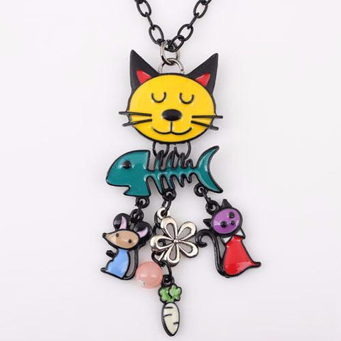 Multicolor - French Cat Pendant Necklace with Charms