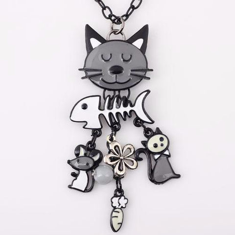 Gray - French Cat Pendant Necklace with Charms