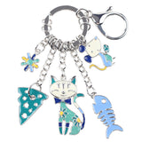 """Cat's Life"" Charm Keychain: 5 Colorful Styles Blue"