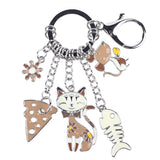 """Cat's Life"" Charm Keychain: 5 Colorful Styles Brown"