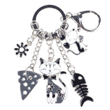 """Cat's Life"" Charm Keychain: 5 Colorful Styles Gray"