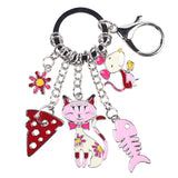 """Cat's Life"" Charm Keychain: 5 Colorful Styles Pink"