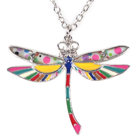 Multicolor - Dragonfly Pendant Necklace: Multi-Color Enamel