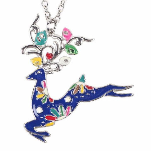 Cute Enamel Reindeer Pendant Necklace: 6 Colors Blue