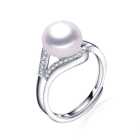 """Mother of Pearl"" Ring with Cubic Zirconia White Pearl"