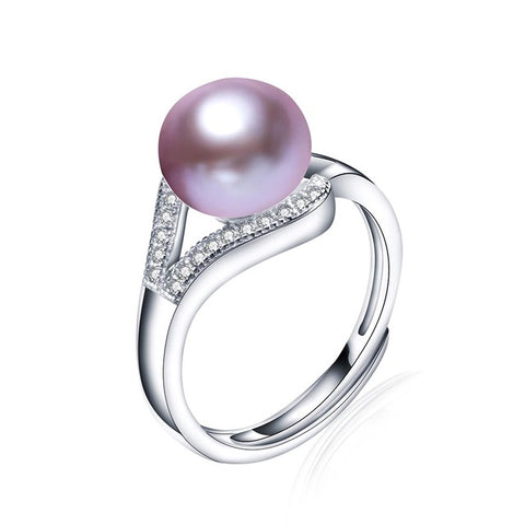 """Mother of Pearl"" Ring with Cubic Zirconia Purple Pearl"