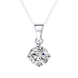 Ladies Elegant Crystal Zircon Pendant Necklace Silver