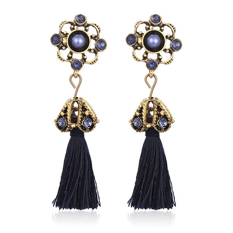 Vintage Crystal Flower Earrings with Tassel