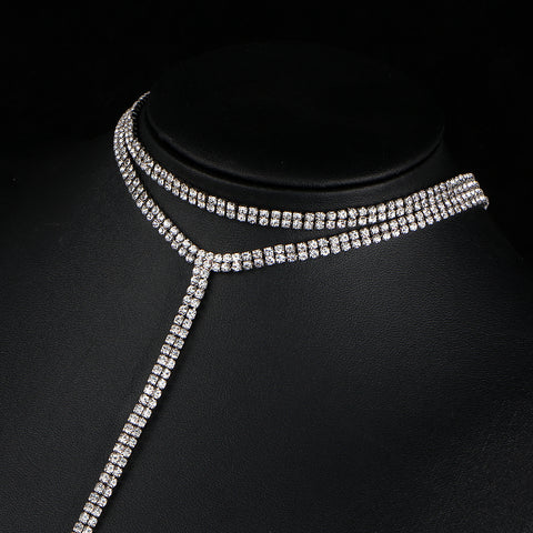 Necklaces - Rhinestone Double-Strand Long Choker Necklace