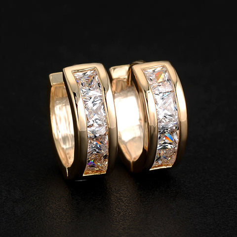 Crystal Zircon Huggie Earrings: Gold or Silver