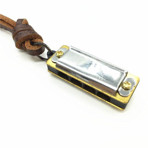 Harmonica Long Brown Vintage Leather Pendant Necklace