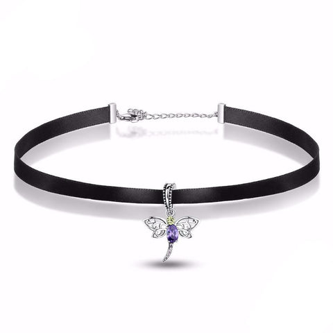 Sterling Silver Enchanted Dragonfly Choker Necklace