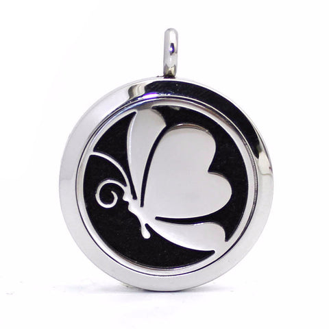 Stainless Steel Perfume Locket Necklace with Butterfly