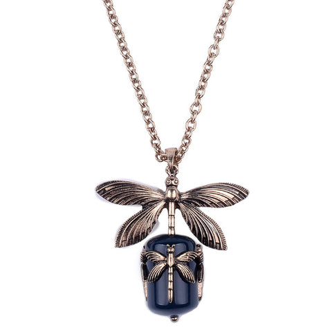 Ladies Vintage Black Stone Dragonfly Pendant Necklace
