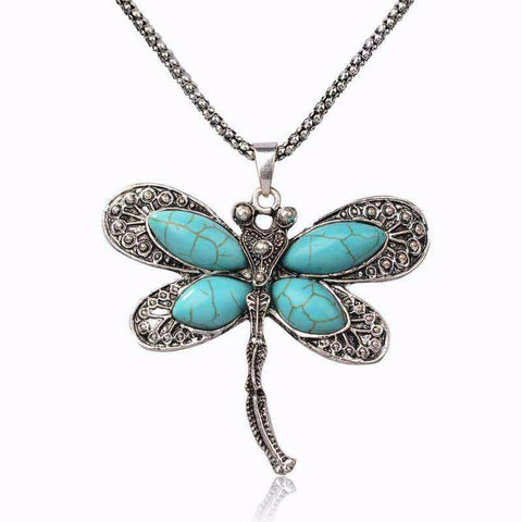 Vintage Stone Dragonfly Pendant Necklace
