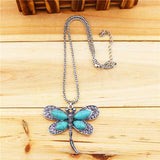 Women's Vintage Stone Dragonfly Pendant Necklace