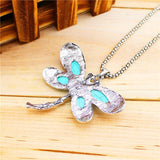 Silver Vintage Stone Dragonfly Pendant Necklace