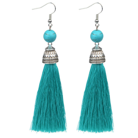 Earrings - Natural Stone and Tassel Earrings: 15 Colors